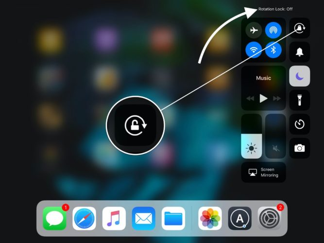 ipad rotation lock off