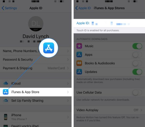 tap on apple id itunes and app store settings