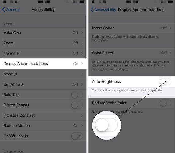 turn off auto-brightness on iphone