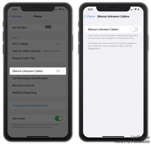 turn off silence unknown callers on iphone