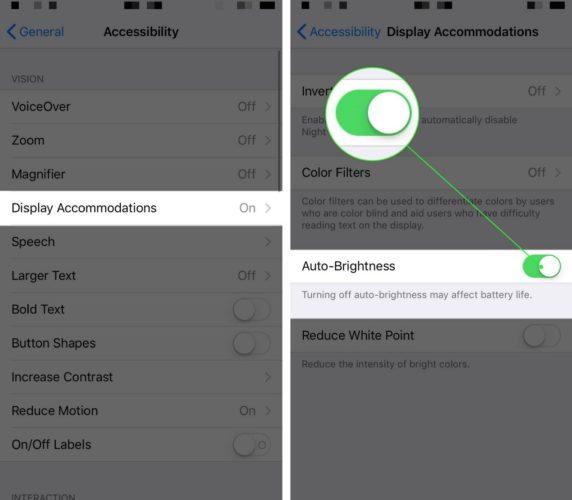 turn on iphone auto brightness