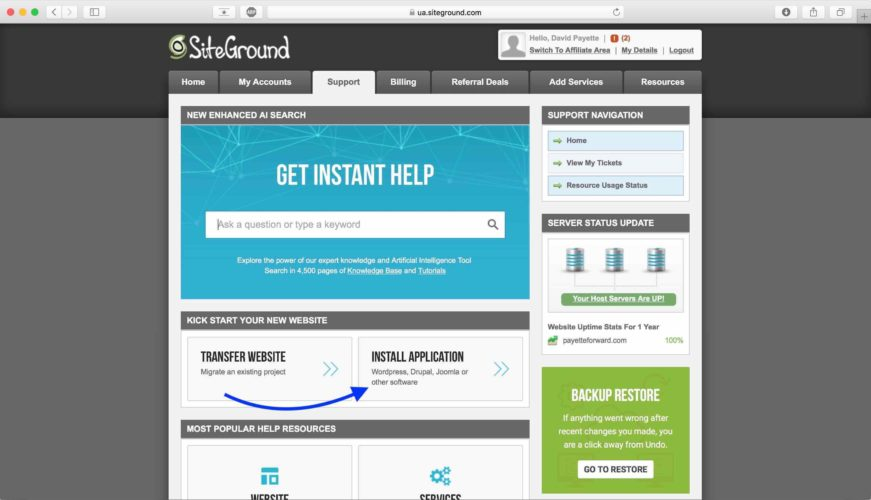install application siteground
