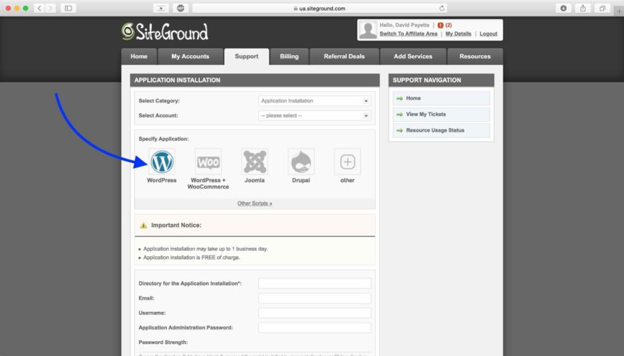 select application installation on siteground