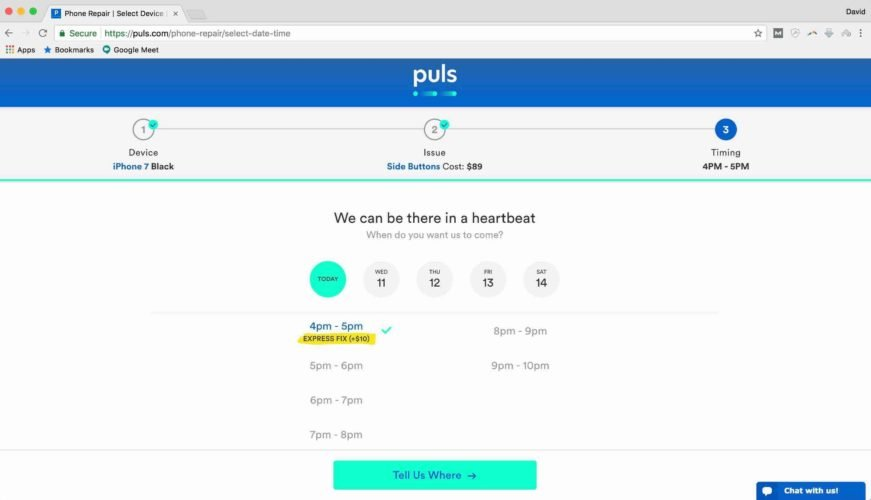 choose puls appointment time