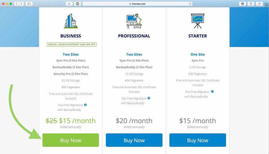 click buy now ithemes business plan