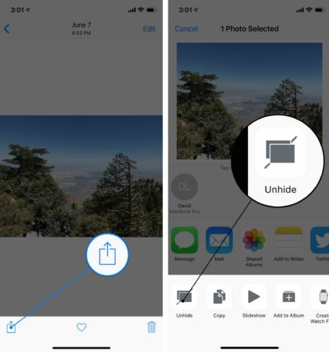 how to unhide photos on iphone