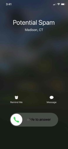 potential spam call iphone