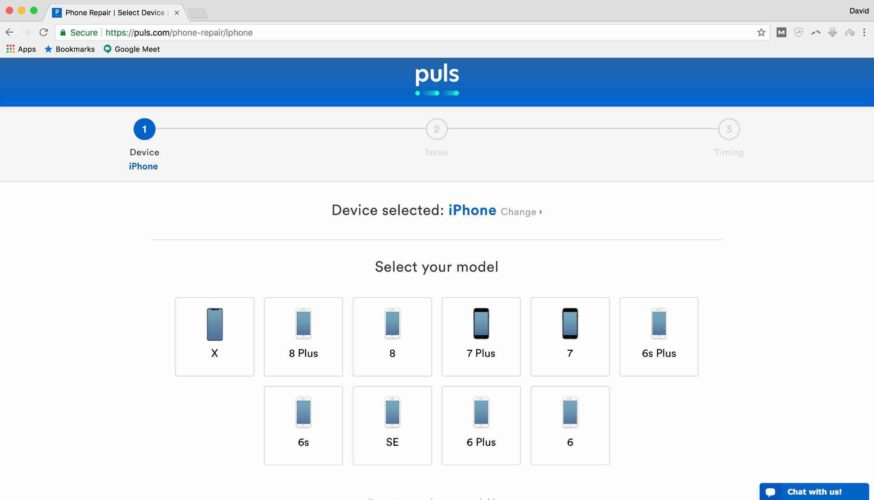 select model device on puls