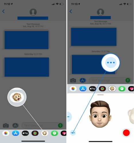 tap more button memoji
