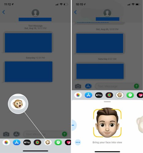 bring your face into view memoji