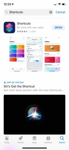 install shortcuts app