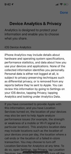 iphone analytics fine print