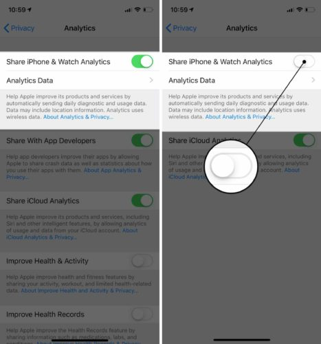 turn off iphone analytics ios 12