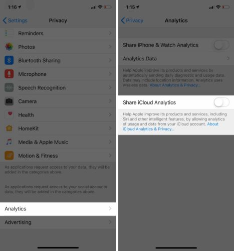 turn off share icloud analytics ios 12