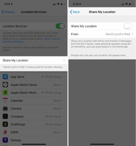 turn off share my location ios 12
