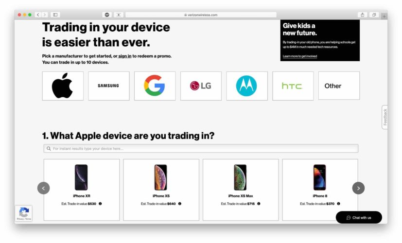 verizon trade in program main page