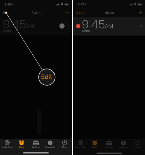 edit iphone alarms