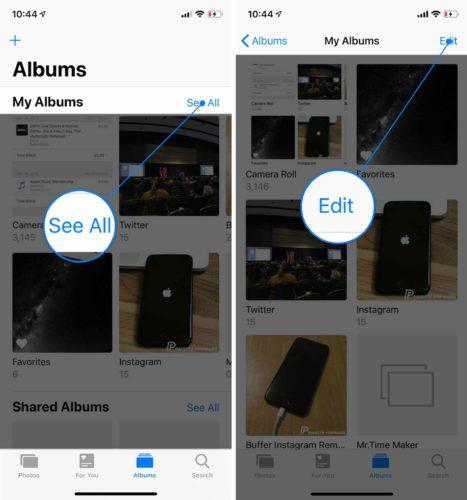 edit iphone albums