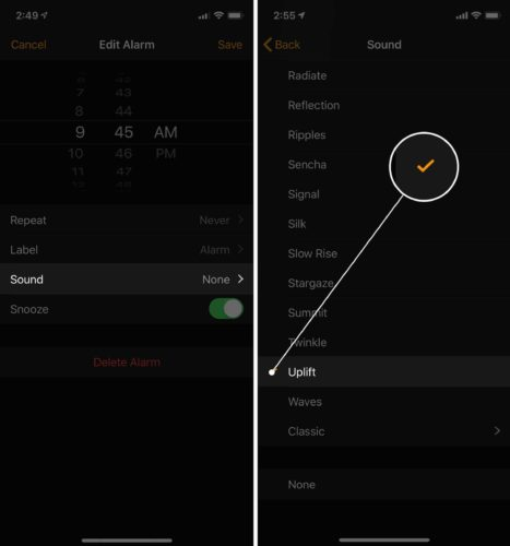 set alarm sound on iphone