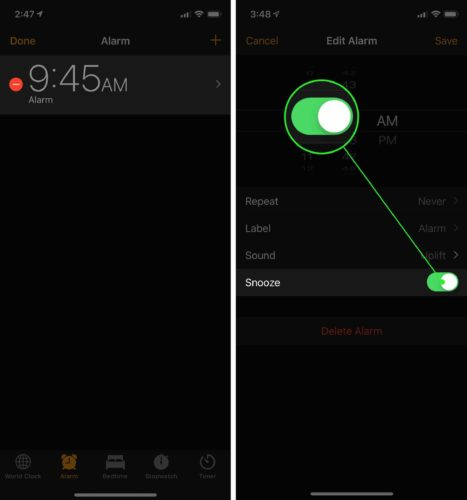 turn on iphone alarm clock snooze