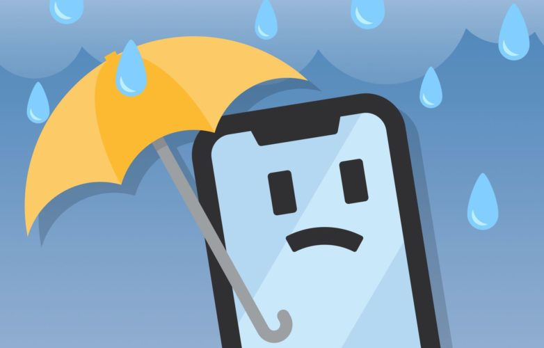 iphone holding umbrella water damage