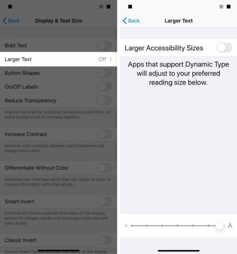 larger text sizes on iphone