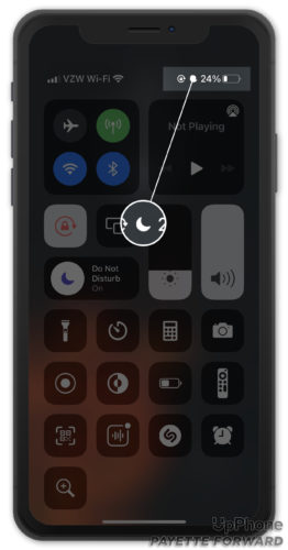 view do not disturb icon in upper right hand corner of screen