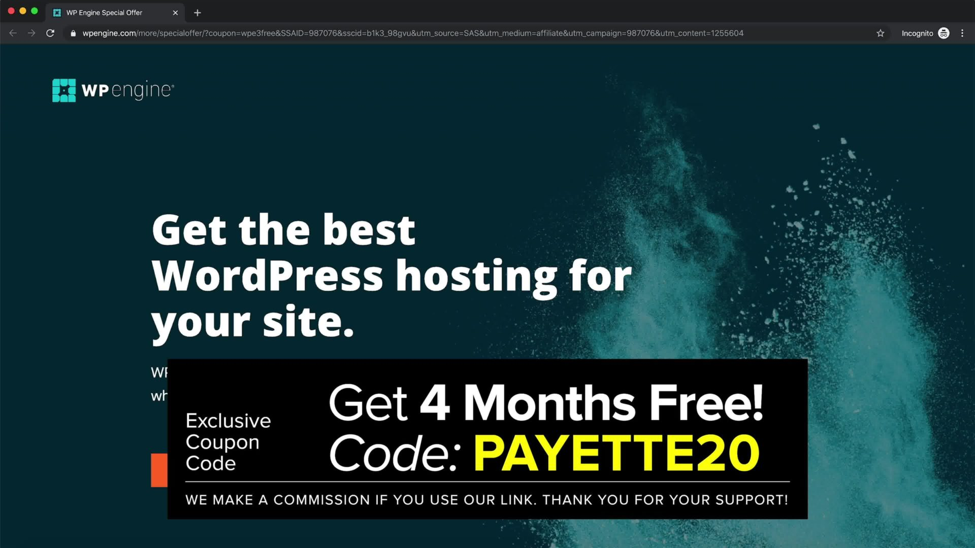 wp engine home page with coupon