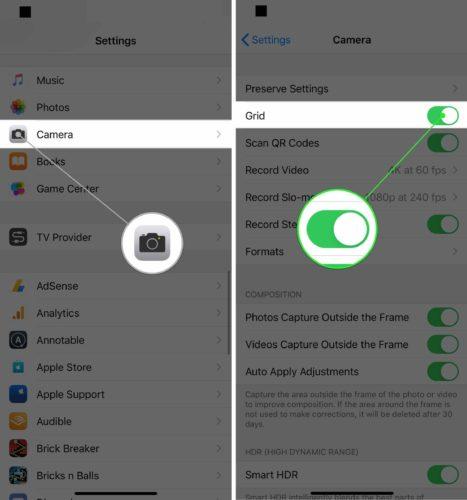turn on iphone camera grid