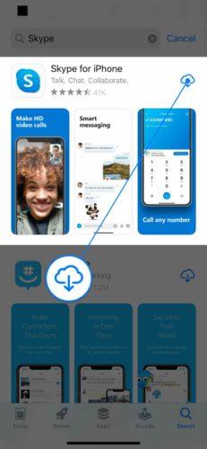 reinstall skype on iphone