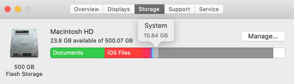system in storage on my mac