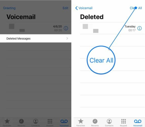 clear all deleted voicemail messages