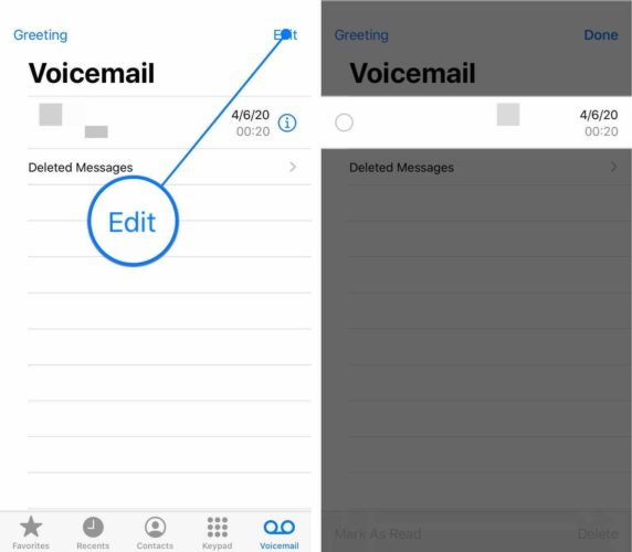 edit voicemail inbox on iphone