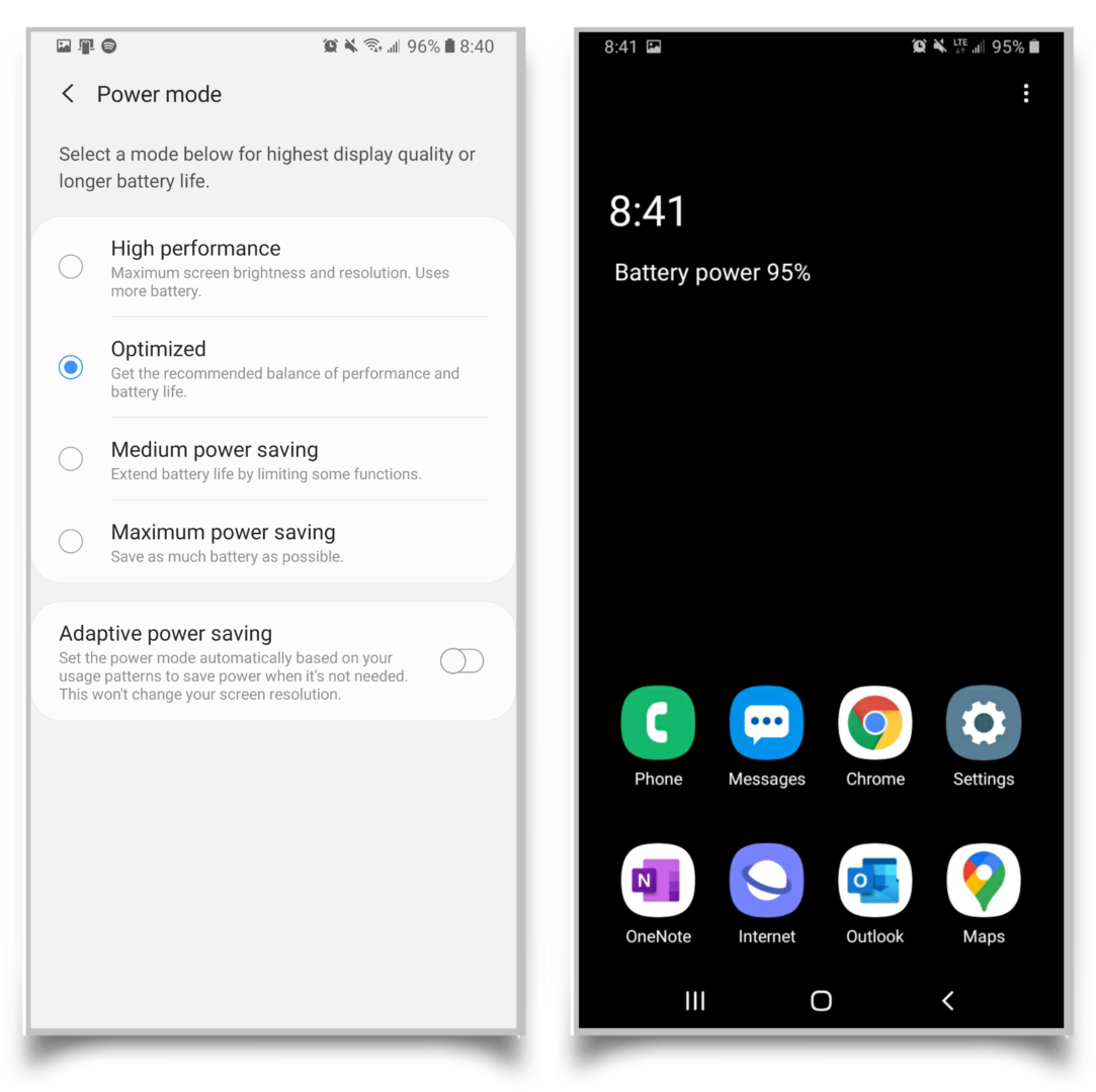 A pair of screenshots showing that you can turn on battery saving mode. The right side shows an example of the Samsung maximum battery saving mode home screen, which is dark to save power.