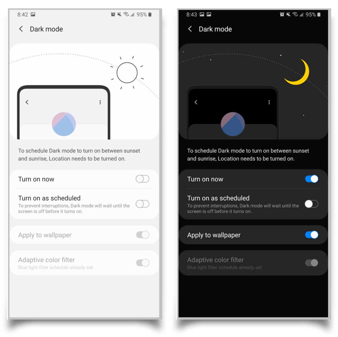 A pair of screenshots showing the difference between light mode and dark mode.