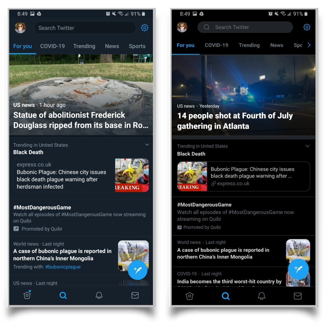A pair of screenshots showing that the Twitter app and the Twitter website look almost exactly the same on mobile .