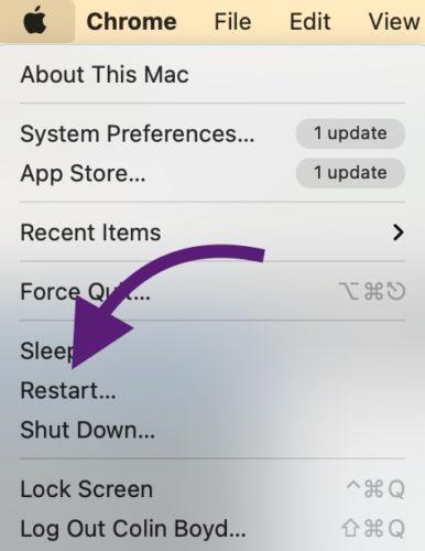 Restart Mac