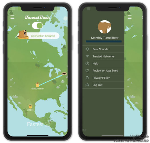 A pair of screenshots showing how tunnelbear works on iPhone