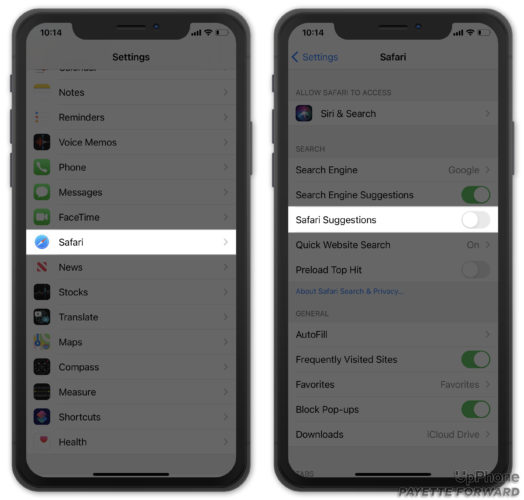 turn off safari suggestions on iphone