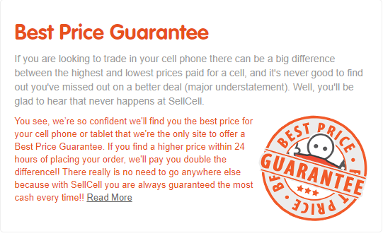 SellCell's best price guarantee