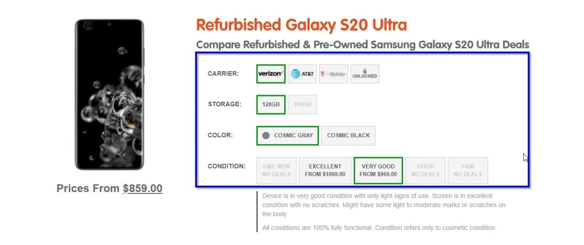 buy refurbished samsung galaxy s20