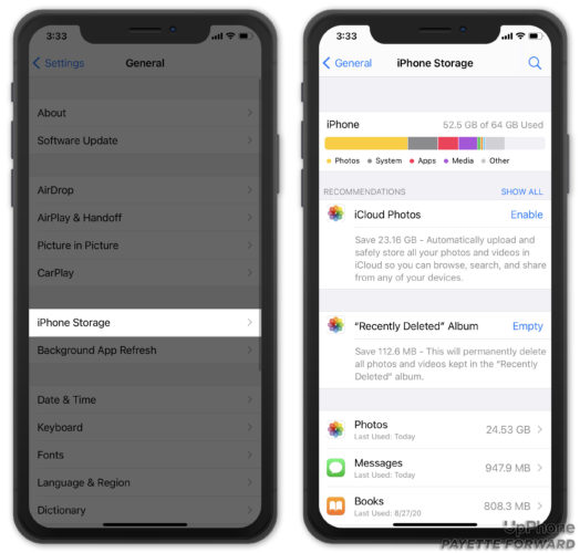 iphone storage optimization recommendations