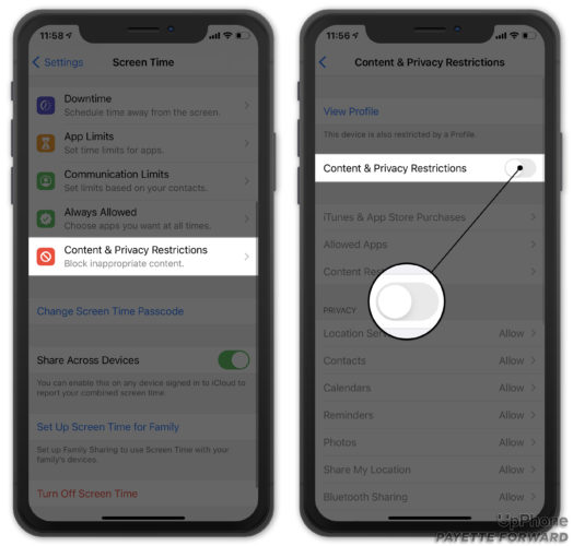 turn off iphone content and privacy restrictions