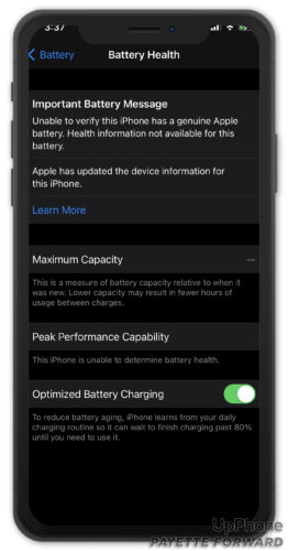 iphone can't provide battery health information
