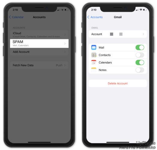 delete spam calendar account on iphone