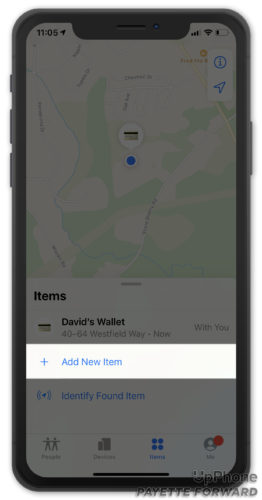 add new item in find my app