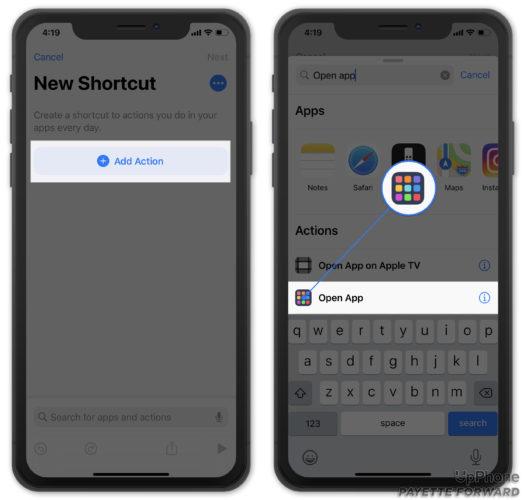 add open app shortcut action