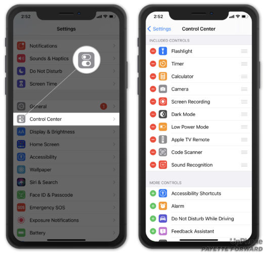 add or remove controls from control center
