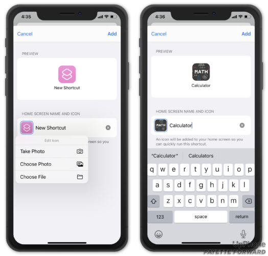 choose icon and name for shortcut
