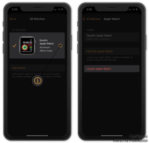 unpair apple watch from iphone in watch app